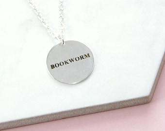 Bookworm Pendant, Book Lovers Round Disc Necklace, Gifts For Bookworms, Literary Jewellery Gifts For Her