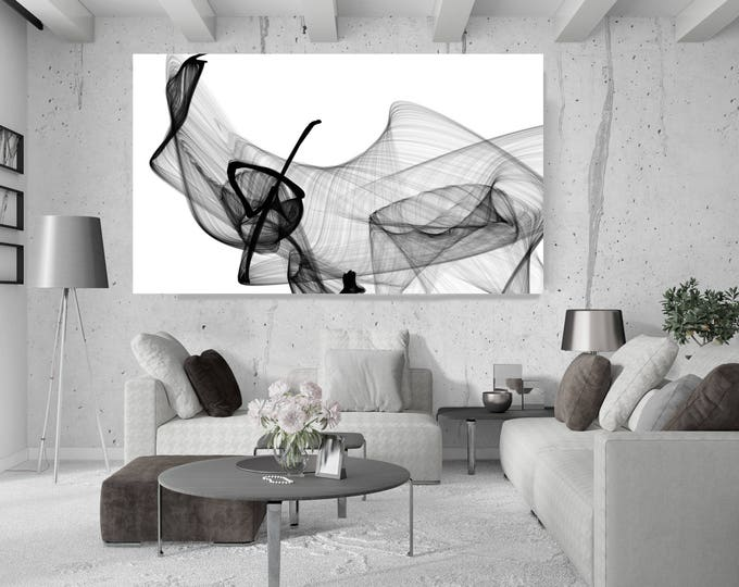 "Abstract Poetry in Black and White 156, Black and White Abstract Canvas Art Print, Extra Large BW Contemporary Art up to 72"" by Irena Orlov"