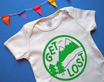 Get Lost Baby T-shirt, Adventure Baby, Funny Unisex Baby Tees, Mountains Baby T-shirt, Explore Babies, Gender Neutral Baby, Green Baby Tee