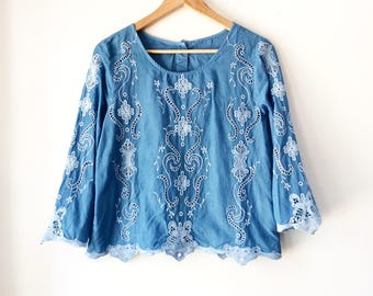 Indigo dyed shirt, size Small, naturally dyed blouse, upcycled top