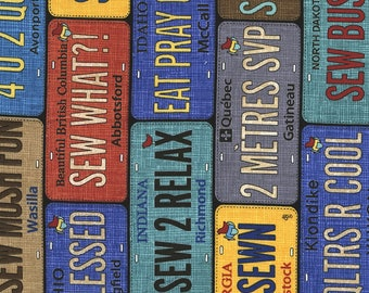 Row By Row 2017 - On The Go - License Plates - Timeless Treasures (ROW-C5061-Multi) - 1 Yard