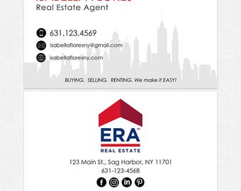 no photo ERA real estate deluxe business cards - thick, color both sides - FREE UPS ground shipping