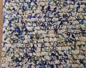 Pretty 7 x 7 Inch Batik Floral Print Fabric Pot Holder, Table Protector, Blue's, lilac, Green Leaf, Tan, Light Purple, Cottage Living,