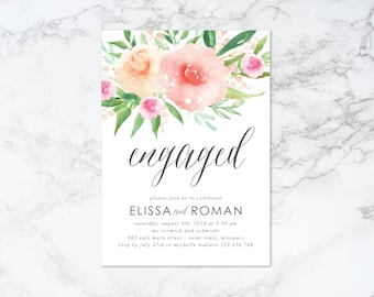 Printable Watercolor Floral Engaged Engagement Invitation