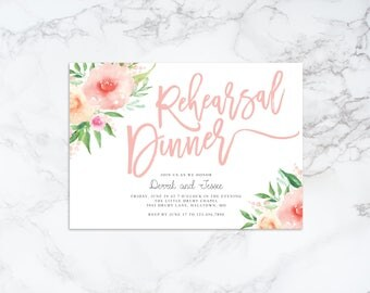 Printable Watercolor Floral Rehearsal Dinner Invitation