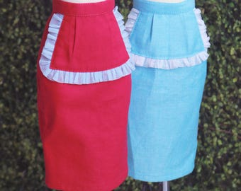 SDGr/SD16/Unoa Zero/DDS Ruffled Apron front Rockabilly Pencil Skirt . Blue or Cerise Pink