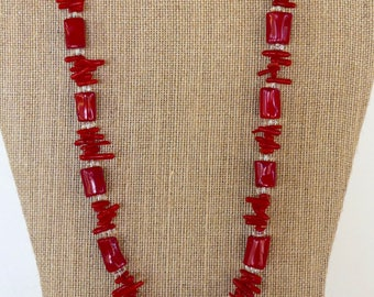 21 Inch Red Column and Red Branch Coral Necklace with Earrings