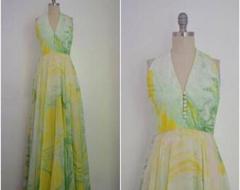 Vintage 1960s-1970s Don Luis De Espana Green Silk Chiffon Maxi Dress