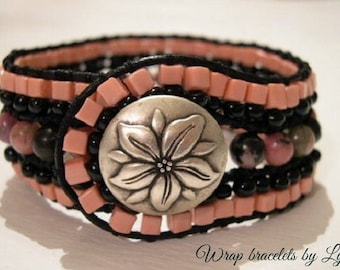 Beaded Cuff Bracelet, Beaded Leather Cuff - 898
