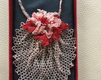 Sale New White/Red Peyote Stitch Neckace Pendant Beadwork 3D Flower