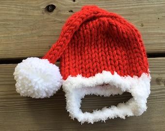 Newborn Chunky knit Chinstrap hat, Santa Hat, Pixi Hat