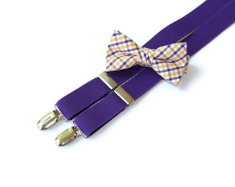 Boys Suspender and Bow Tie Set~Boys Suspenders~Boys Bow Tie~Purple Gold Tattersall~Gold and Purple Bow Tie~Purple Suspenders