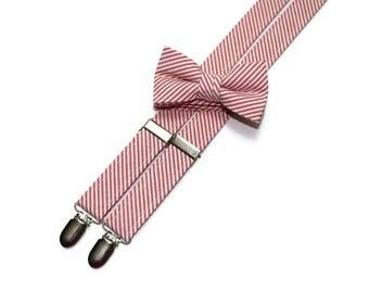Boys Seersucker Suspenders~Coral Seersucker~Boys Suspenders~Wedding Suspenders~Wedding~Boys Seersucker Bow Tie~Boys Suspender Set