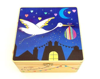Large Printed new baby memory box, New baby keepsake box, Wooden keepsake box with stork design, Free personalisation.