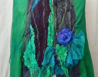 Dazzling felted scarf from merino wool, done with Nuno and wet felting, with Italian silk and handmade in USA, great lightweight scarf
