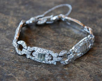 Vintage Art Deco Rhinestone Bracelet Rhodium Plated Pot Metal Links Safety Chain Wedding Bridal Prom 1930's // Vintage Costume Jewelry