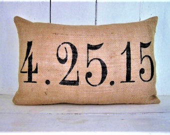 Burlap wedding pillow ,personalized  pillow, rustic wedding, custom pillow, wedding gift for couple, wedding gift, anniversary gift