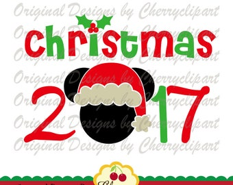 Christmas 2017 Mickey SVG DXF Christmas Silhouette & Cricut Cut Files CHSVG48 -Personal and Commercial Use