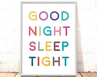Good Night Sleep Tight Print | Nursery Art Boys Girls Room Decor | Neutral Nursery Decor | Christening Gift | New Baby Gift