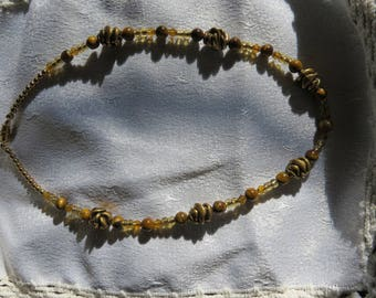 Faux Gold Nugget Beaded Necklace