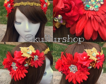 Ready to Ship Fire Goddess flower crown headband with lavender