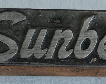 Vintage Sunbeam Advertising Printer's Block