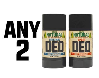 Sam's Natural - Any Two Natural Deodorant - Gifts for Men - Natural, Vegan + Cruelty-Free