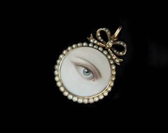 Sandra Hendler Original Hand Painted Miniature Lover's Eye In Lovely Antique Gold & Seed Pearl  Locket w Space For Memento on Reverse