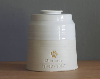 Urn, custom quote urn with lid. larger size pet urn, human ashes urn. White porcelain, white. Urn with paw print. Read item details