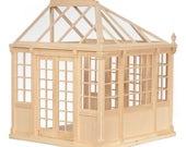 Built & Ready to Decorate, Unpainted, Dollhouse Miniature Greenhouse, C'est Elle, Scale One Inch