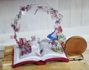 Miniature book sculpture Alice in Wonderland
