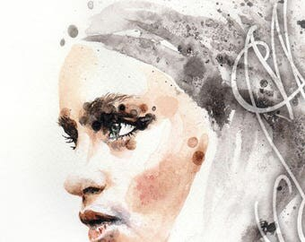 "Martinefa's Original watercolor and Ink ""GoT Daenerys"""
