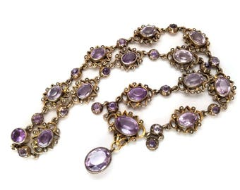 Gorgeous Victorian Amethyst and Seed Pearl Gilt Collar Necklace