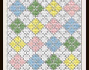 Argyle C2C Graph, Argyle Baby 6 color Afghan, Argyle Crochet Pattern, Argyle Corner to Corner