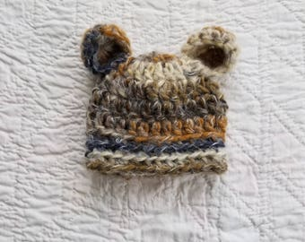 Newborn Bear Beanie, Crochet Baby Hat, Baby Bear Hat, Hat, Baby Boy Hat, Newborn Bear Hat, Infant Bear Hat, Baby Animal Hat