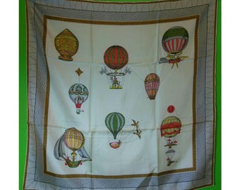 Unusual Vintage 1930s Silk Hot Air Balloon Scarf, Made in France, Handrolled