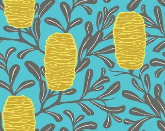 Melba by Emma Jean Jansen for Ella Blue - Banksia - Yellow - 1/2 Yard Cotton Quilt Fabric 516
