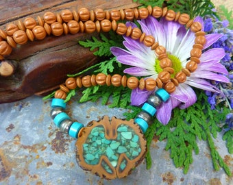 Vintage IROQUOIS INLAID TURQUOISE nut pawn wood bead necklace