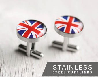 Union Jack Cufflinks, United Kingdom, Flag cufflinks, English flag cufflinks, men's cufflinks, gift for him, men's gift idea