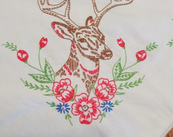 Vintage Tablecloth Embroidered Deer Flowers White Cotton Square Table Topper