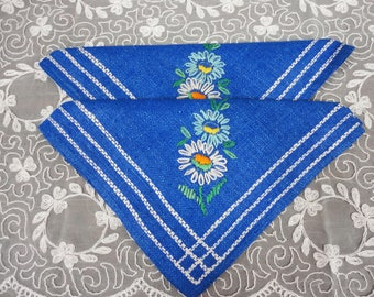 NEW Pair of Blue Linen Embroidered Napkins  Czechoslovakia
