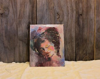 Hand Painted Portrait of Woman Painting Artwork Pink Acrylic Paint Vintage 1970s 70s (G)