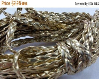 5 YARDS - 5MM Gold Metallic Herringbone Style Woven Braided Flat Faux Leather Cord BC0001