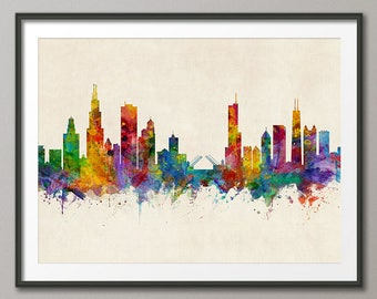 Chicago Skyline, Chicago Illinois Cityscape Art Print (3040)