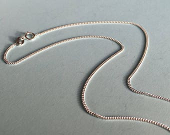 "Sterling Silver New Chain for Charm or Pendant. Diamond Cut Curb Chain, 2 Lengths, 16"" or 18"""