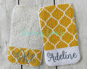 Set of 2 Monogrammed Burp Cloths - Personalized Burp Cloths - Baby Shower Gift
