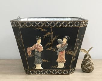Vintage Asian Planter Black Lacquer Planter Box Brass Detail Inlaid Mother of Pearl Figurines