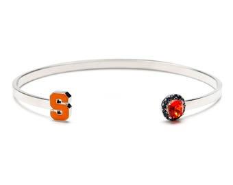 Syracuse University Bangle Bracelet – Orange S with Crystals