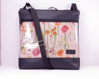 Cross body bag, Floral front pocket .Black vinyl Messenger bag, Shoulder bag Large. Poppies, protective plastic layer.