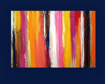 Ora Birenbaum Colorful Painting, Art,Acrylic, Original,Abstract Painting Original Art on Gallery Canvas  Titled: Diverse 24x36x1.5""